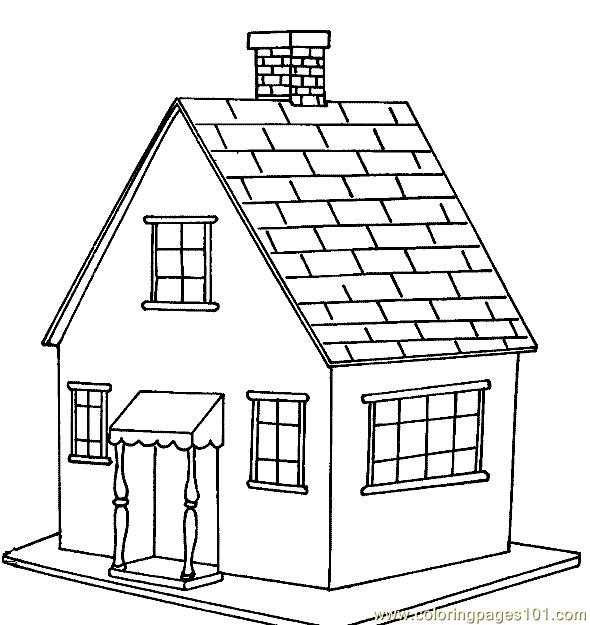 590x625 Wooden Floor House Coloring Page