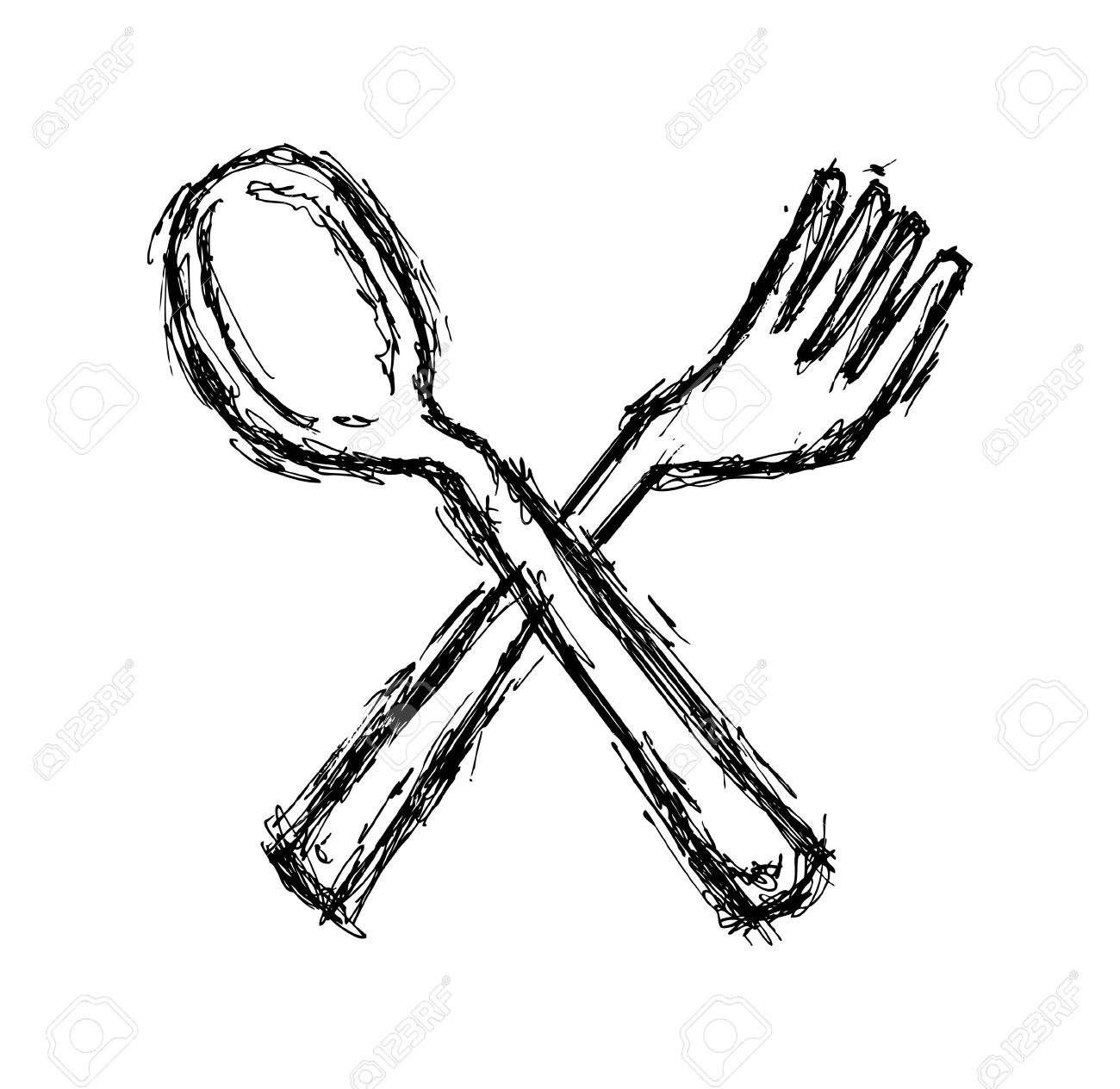 1300x1264 Hand Drawn Fork Spoon Royalty Free Cliparts, Vectors,