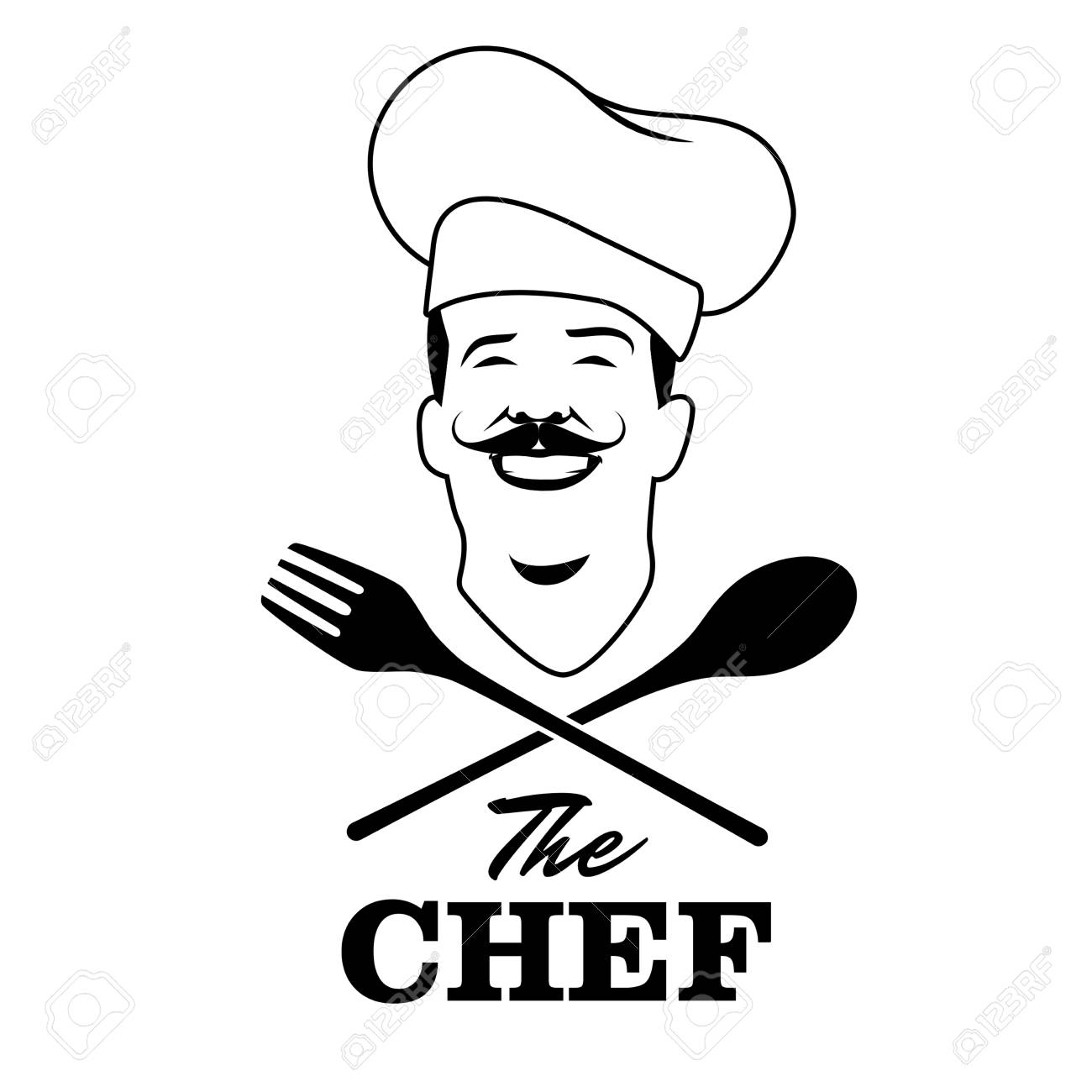 1300x1300 Handsome Chef With Mustache And Wooden Spoon And Fork. Retro