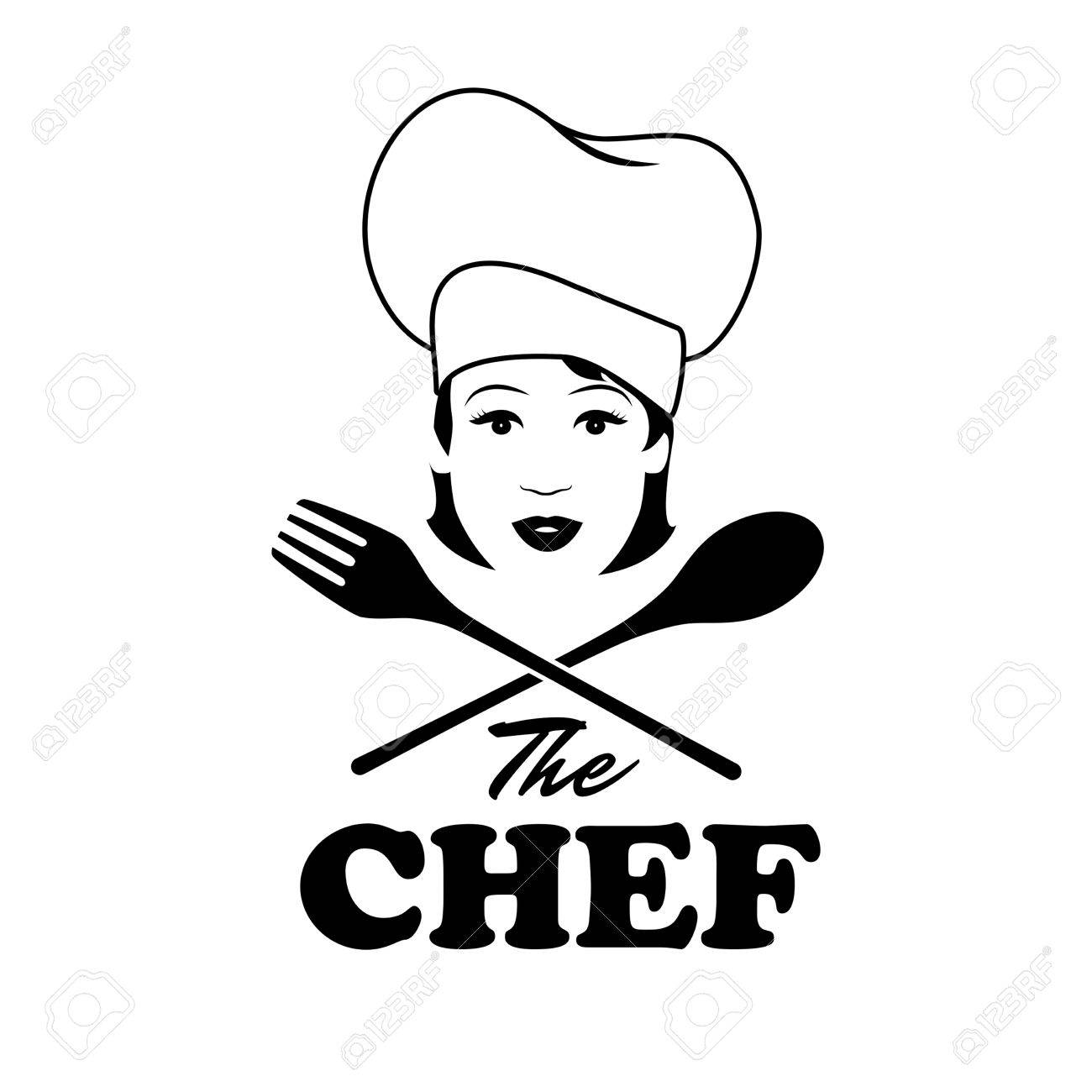 1300x1300 Woman Chef. Beautiful Cook With Wooden Spoon And Fork. Retro