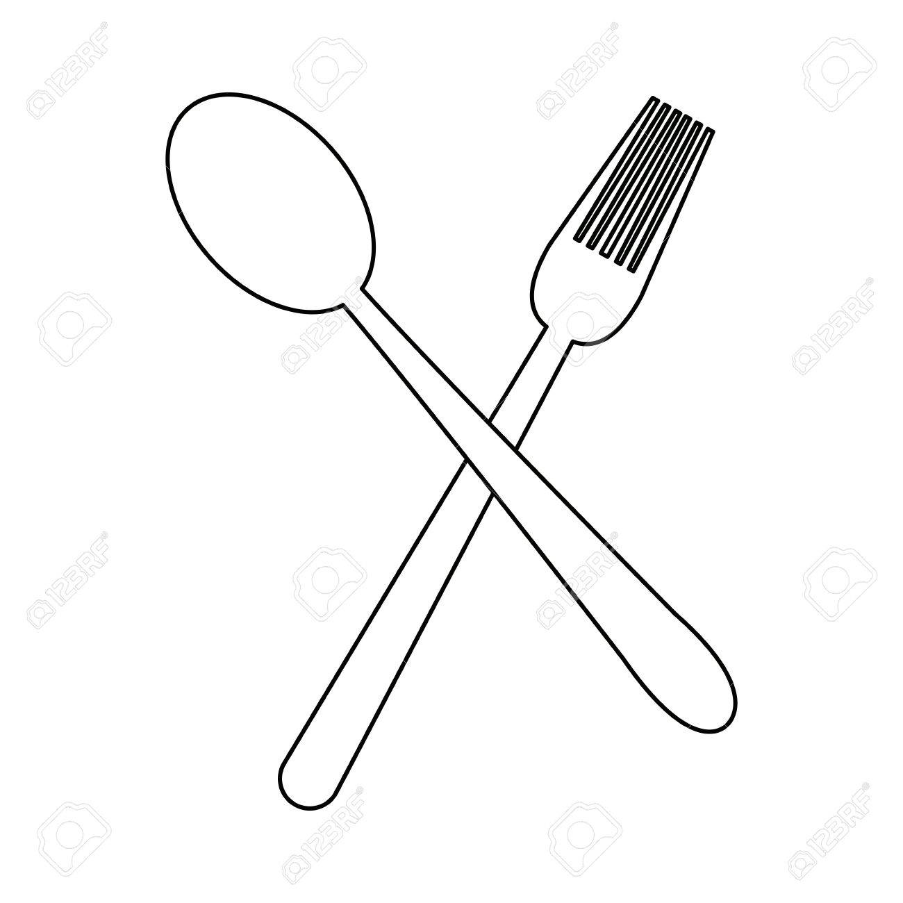 1300x1300 Crossed Spoon And Fork Tool Cooking Kitchen Icon Vector