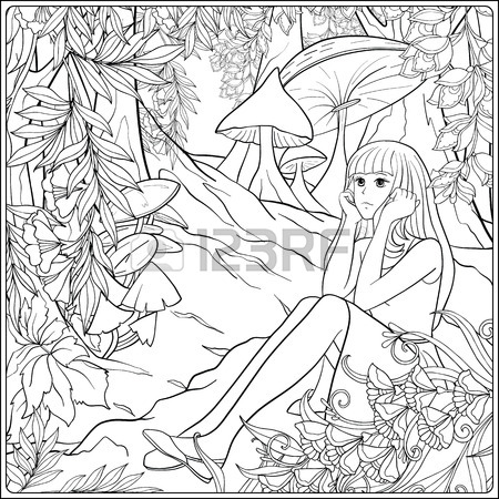 450x450 Girl Alice In The Woods In The Meadow With Trees And Mushrooms