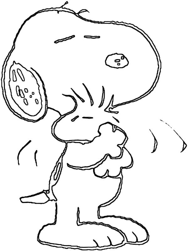 600x800 Snoopy Hug Woodstock Tight Coloring Pages Best Place To Color