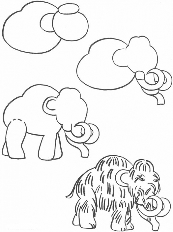 590x791 How To Draw A Mammoth How To Draw Drawings, Art