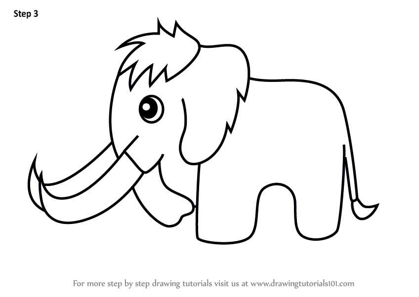 848x602 Learn How To Draw A Woolly Mammoth For Kids (Animals For Kids