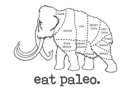 550x367 Woolly Mammoth Eat Paleo Butcher Cut Black Posters By