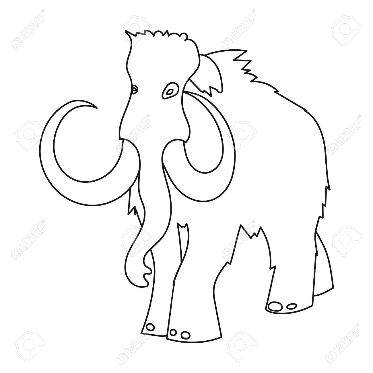 1300x1300 Woolly Mammoth Icon In Outline Style Isolated On White Background
