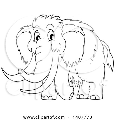 450x470 Clipart Of A Black And White Lineart Happy Woolly Mammoth