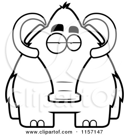 450x470 Cartoon Clipart Of A Black And White Woolly Mammoth