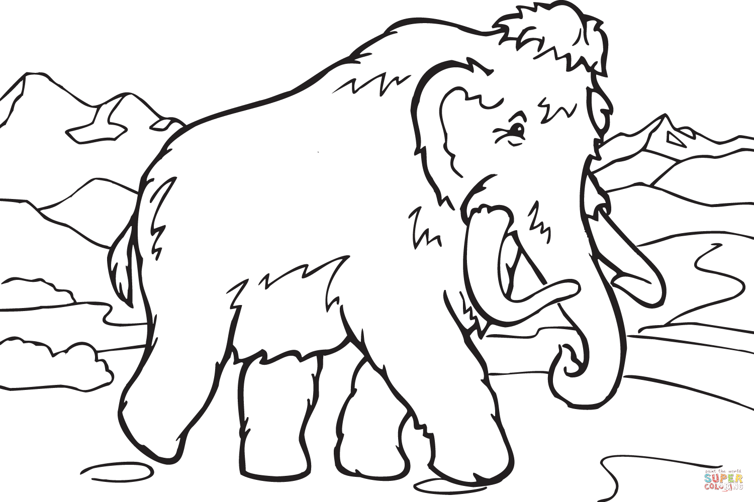 1500x999 Walking Mammoth Coloring Page Free Printable Coloring Pages