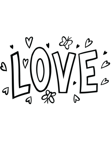 371x480 Love Word Art Coloring Page Free Printable Coloring Pages