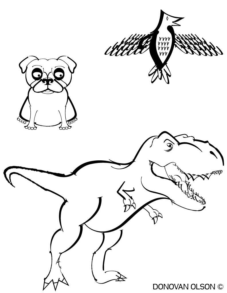 792x1025 Simple T Rex Drawing Word Art Donovan's Art Design Blog