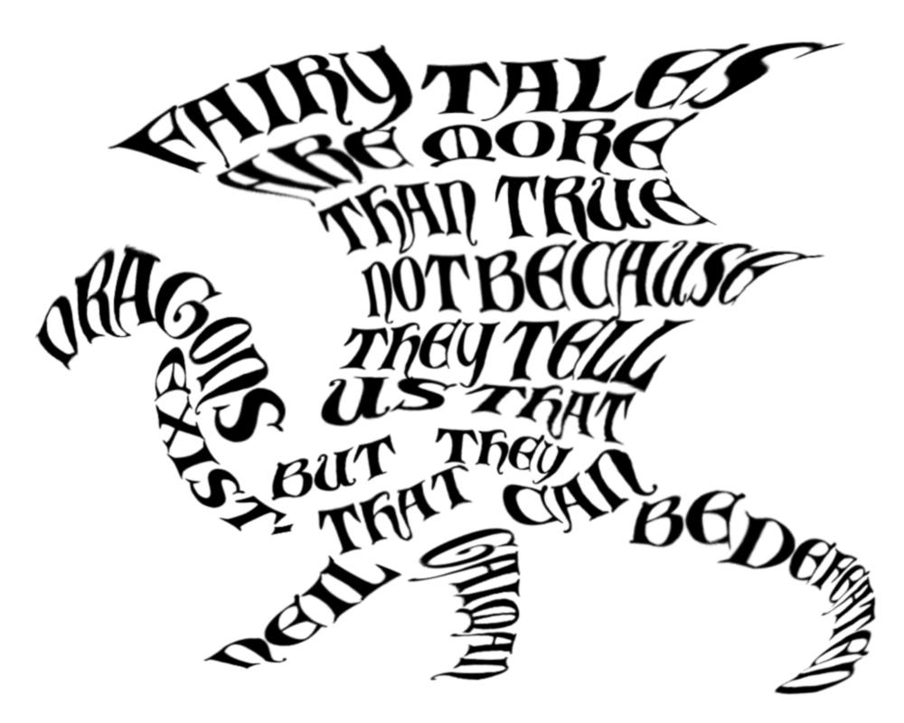 1000x800 Word Art Dragon By Trikucian