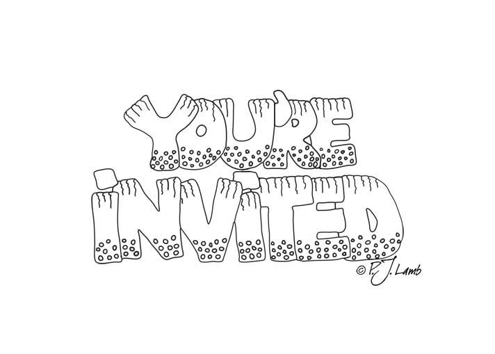 712x509 Zentangle You'Re Invited Black And White Graphic Word Art