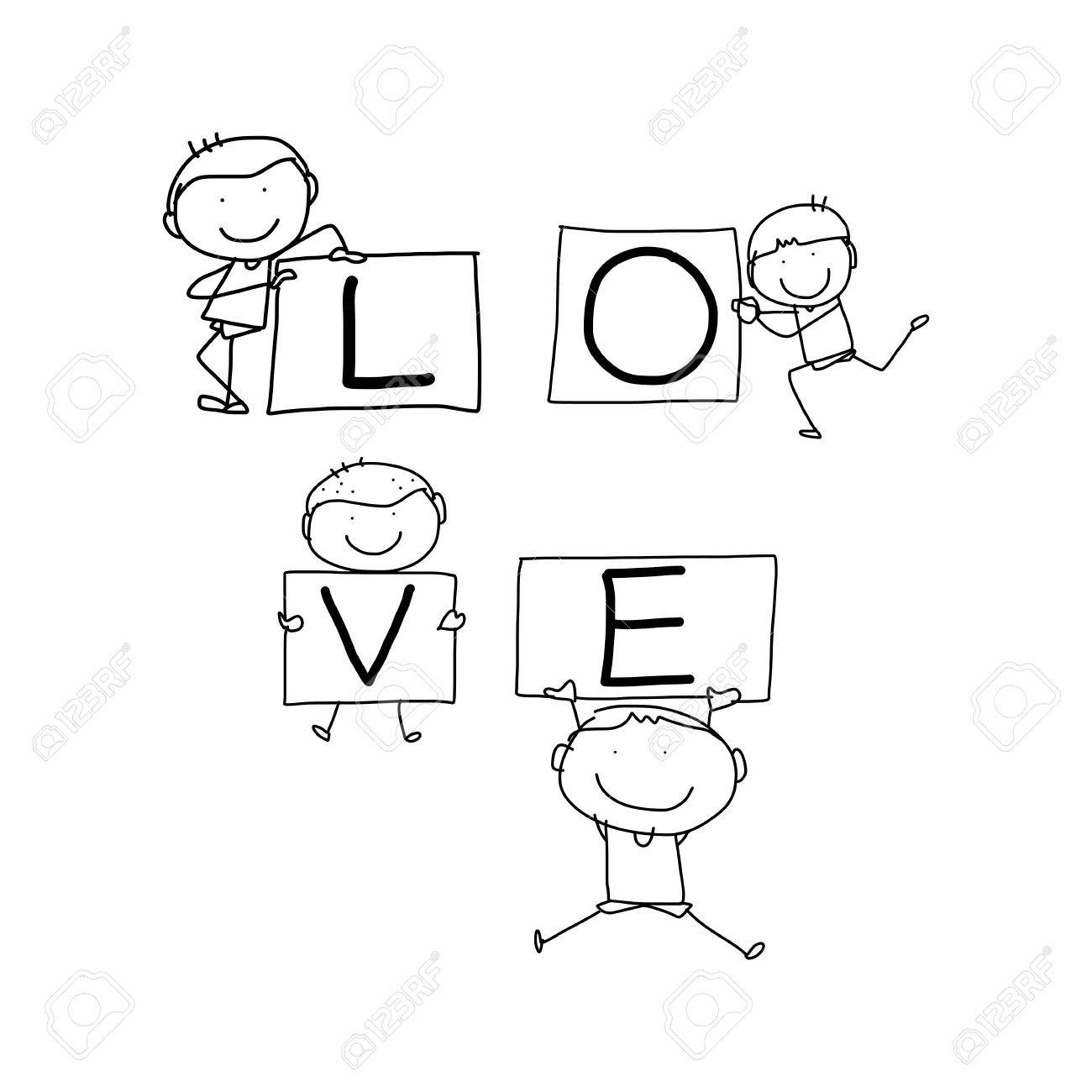 1300x1300 Hand Drawing Cartoon Happy Words For Valentine Illustration