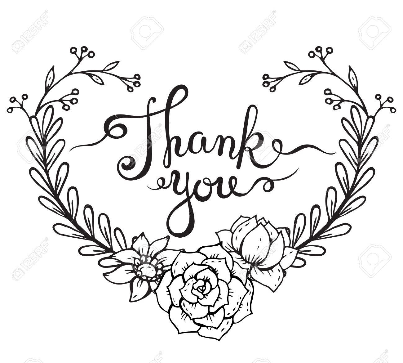 1300x1170 Hand Lettering Words Thank You With Hand Drawn Floral Wreath