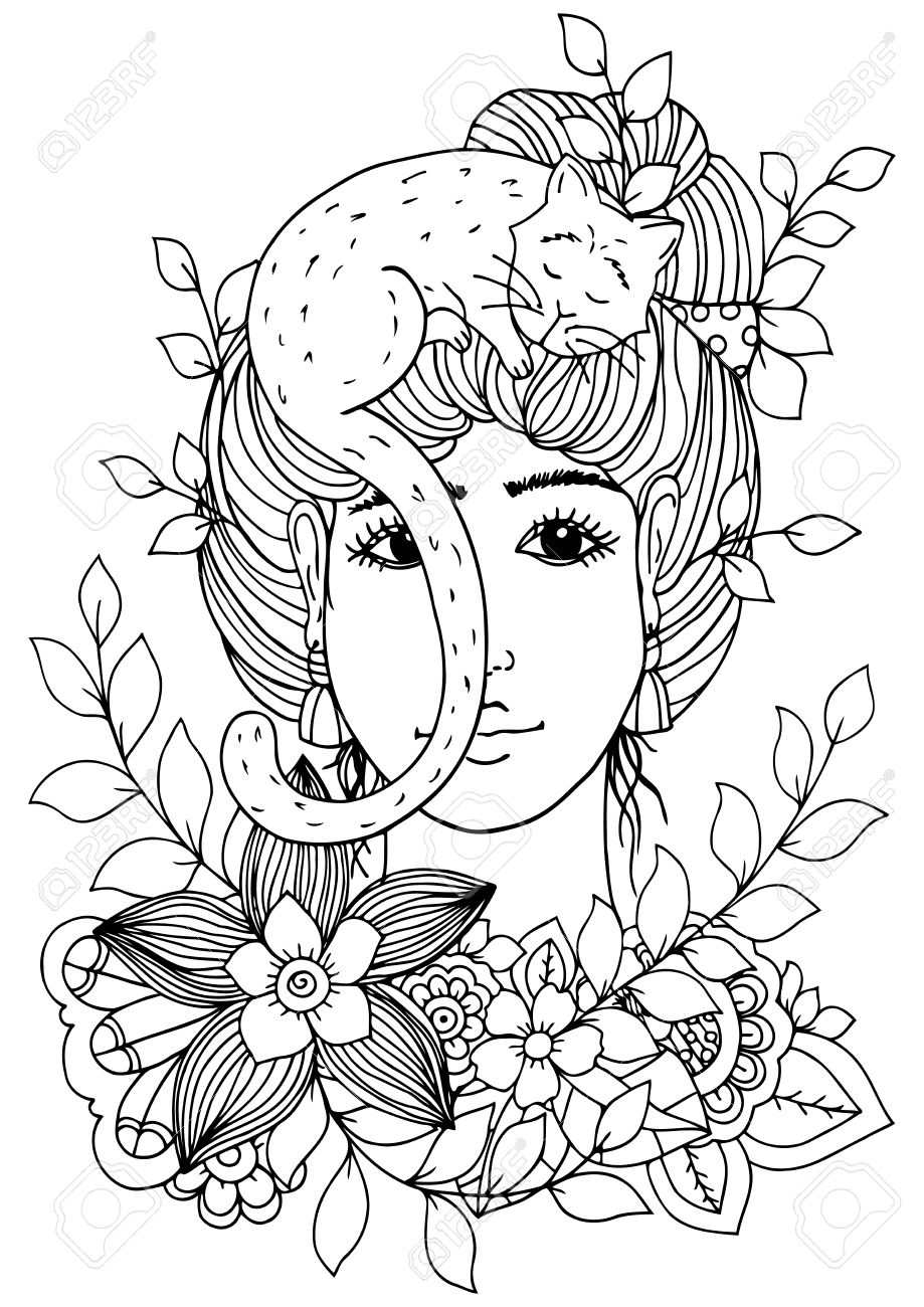 919x1300 Illustration Of Handmade Work, Zentangle Girl With Flowers And Cat
