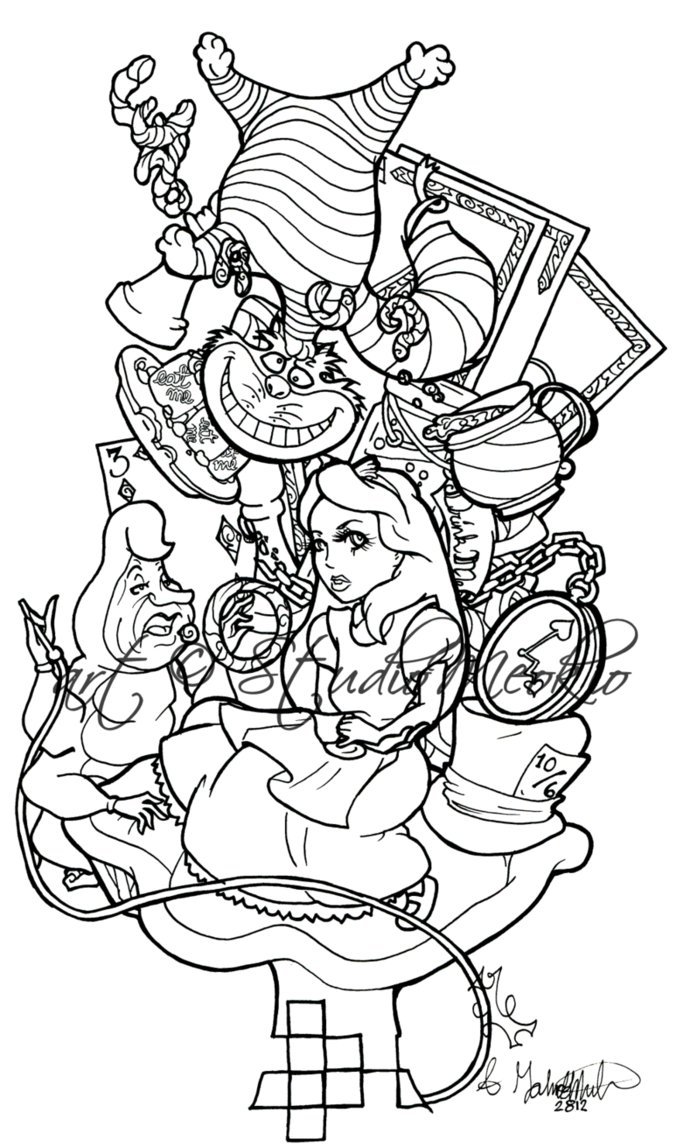 697x1147 Alice In Wonderland Outline Drawing Alice Tattoo Work Pt 1 Outline
