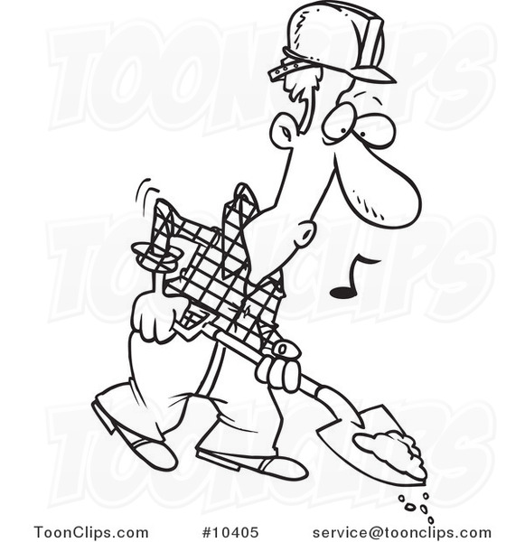 581x600 Cartoon Black And White Line Drawing Of A Digging Construction