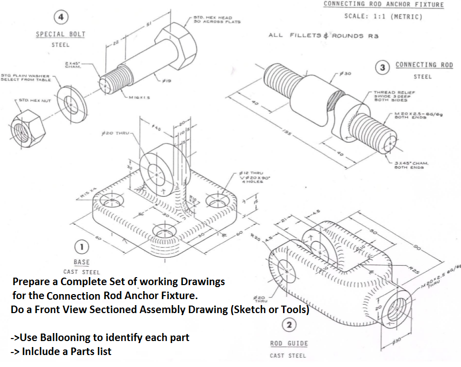 922x735 Solved Prepare A Complete Set Of Working Drawings