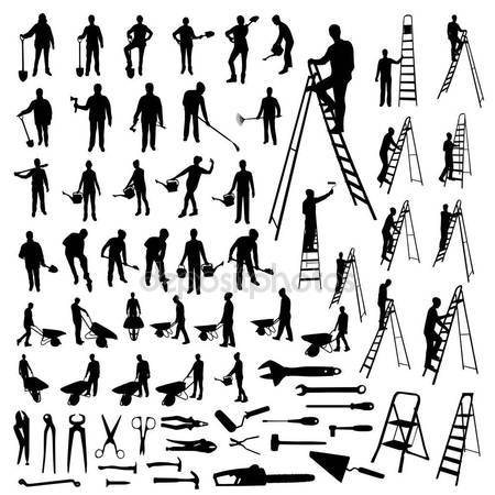 450x450 Set Working People Tools Silhouettes Stock Vector Orfeev