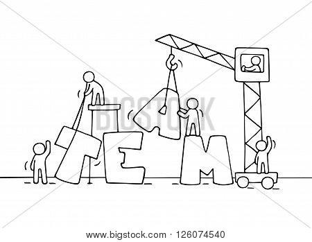 450x349 Sketch Teamwork Working Little Vector Amp Photo Bigstock