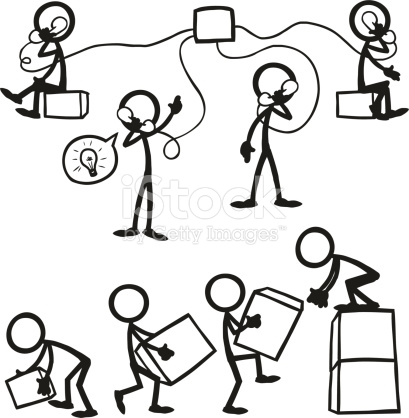 409x418 Stickfigure Business People Working Together. A Group Telephone