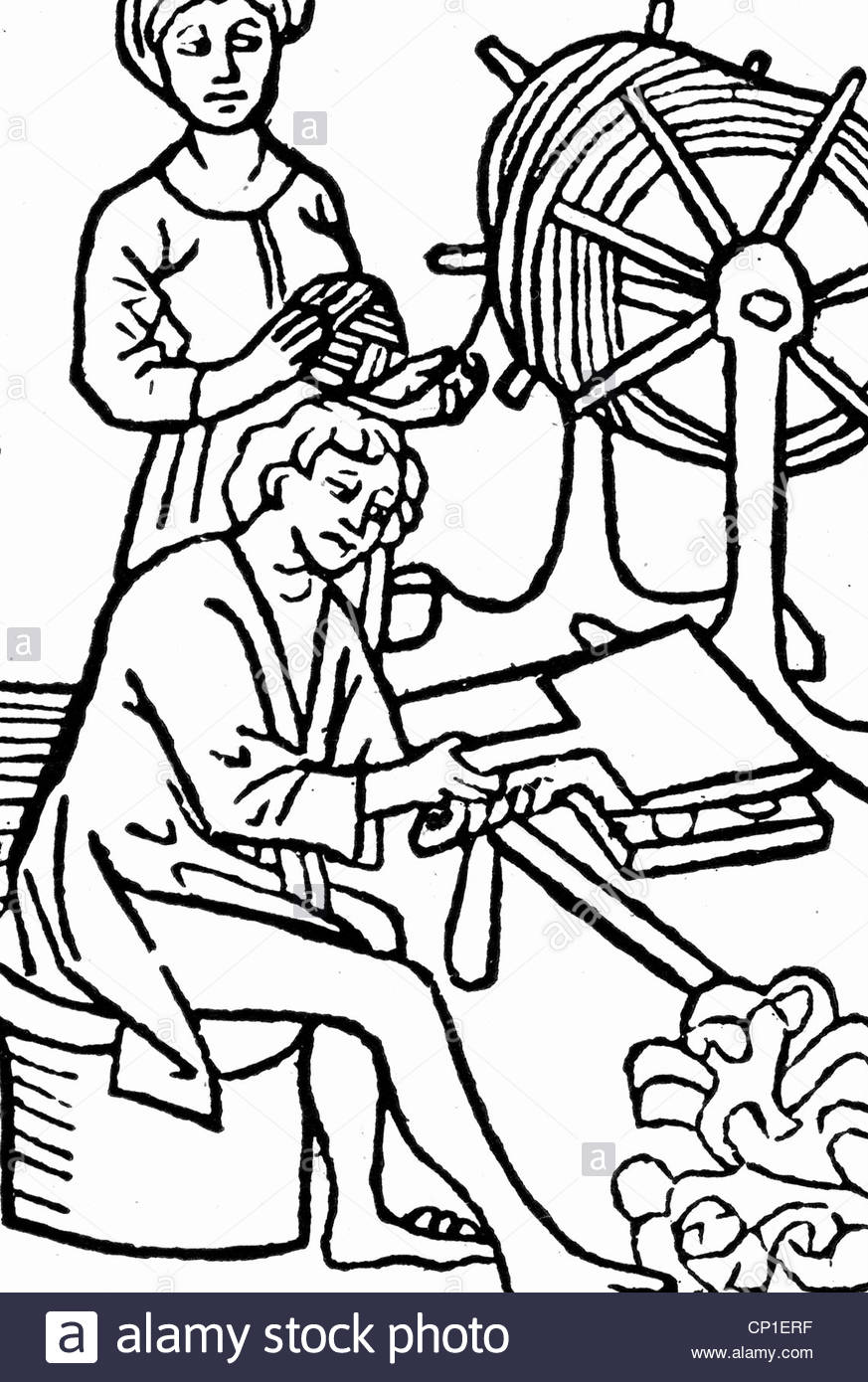 873x1390 People, Professions, Spinner, Yarn Making, Woodcut, 1479, Spinners