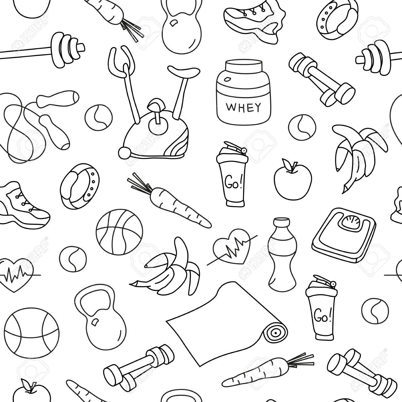 1300x1300 Seamless Pattern With Isolated Fitness Doodles. Hand Drawn