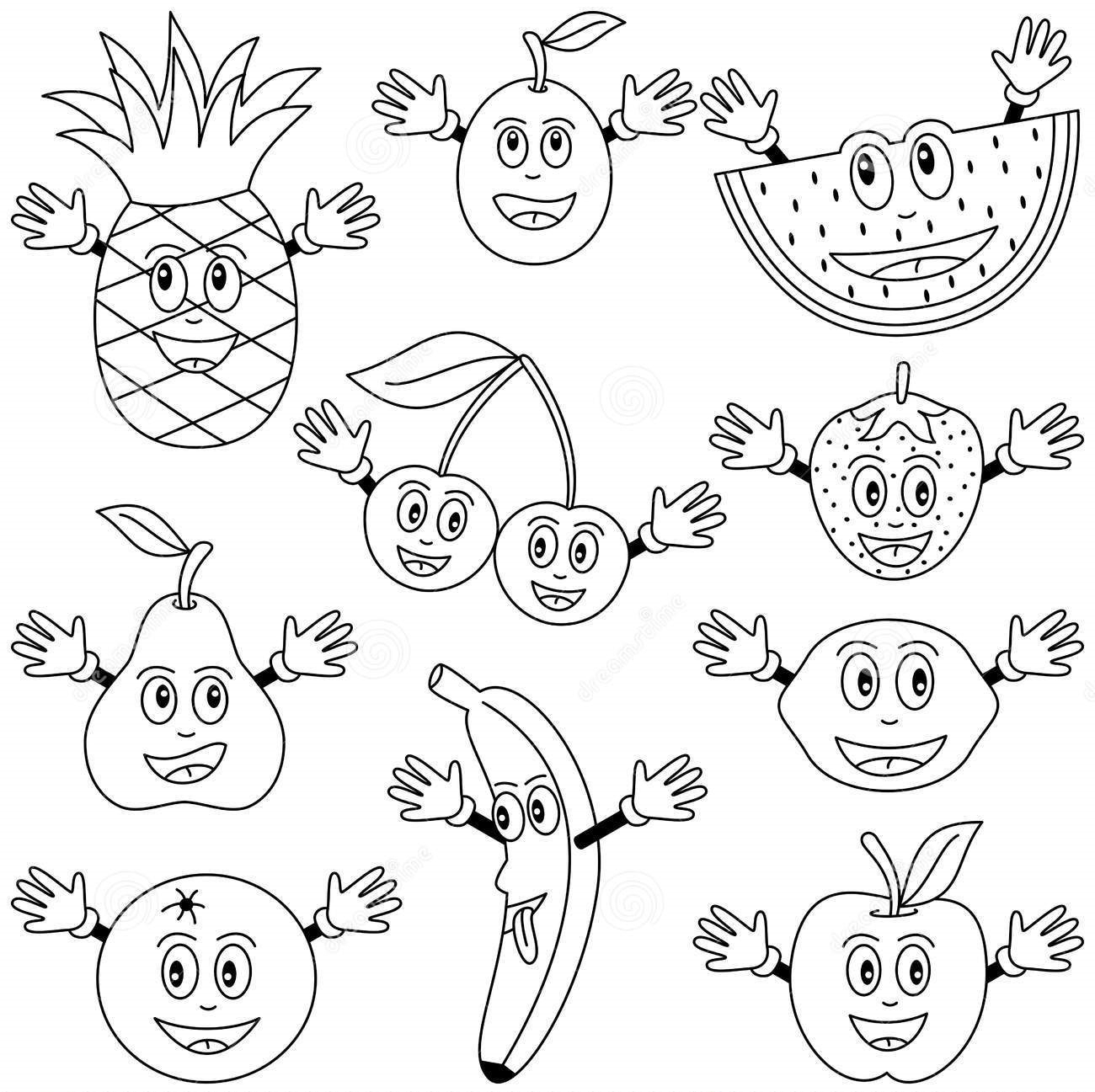 1300x1297 Drawing Fruits And Vegetables Worksheets Fruits Vegetables