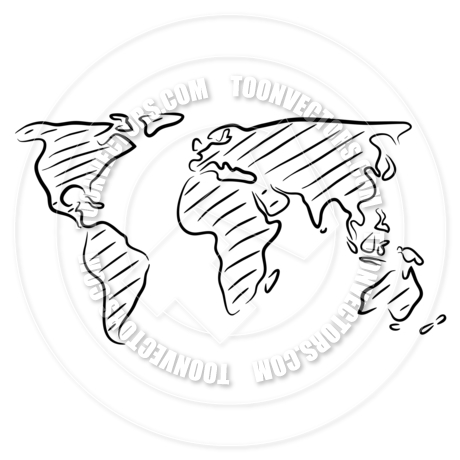 460x460 World Map Sketch By Tawng Toon Vectors Eps
