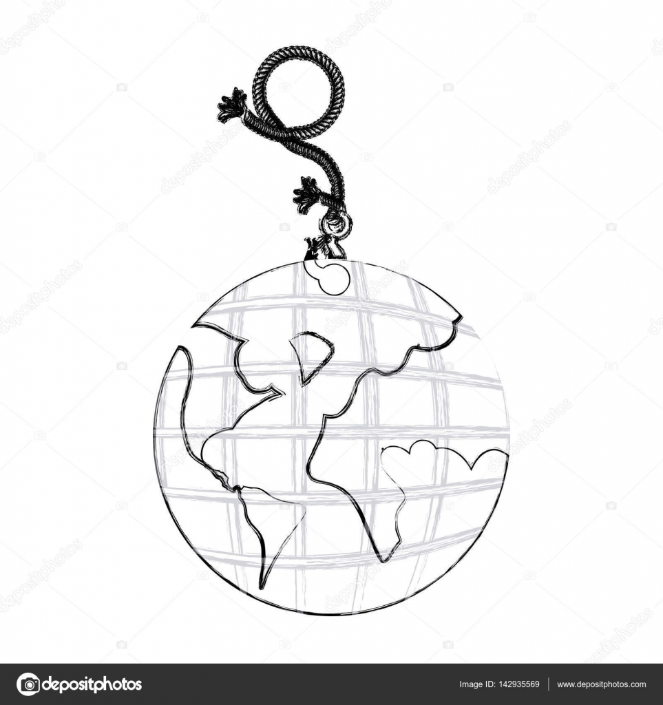 963x1024 Monochrome Contour Hand Drawing Of Hanging Rope With Metal Hook