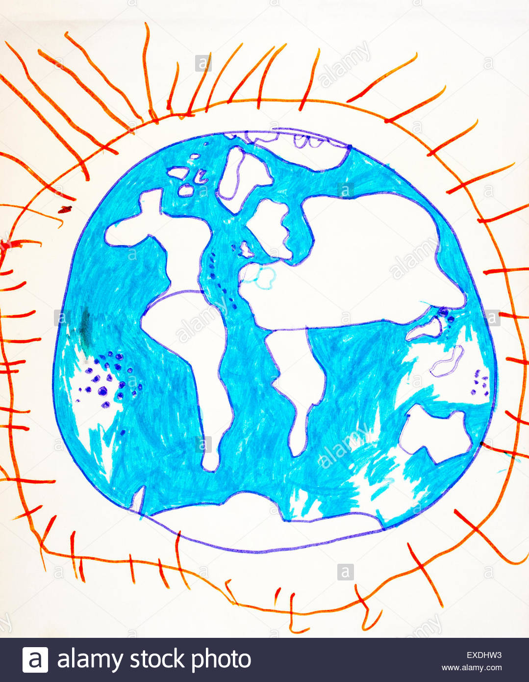 1079x1390 Drawing, Map Of The World, Globe, Drawn By Six Year Old School