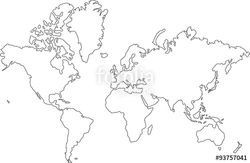 500x326 Freehand World Map Sketch On White Background. Stock Image