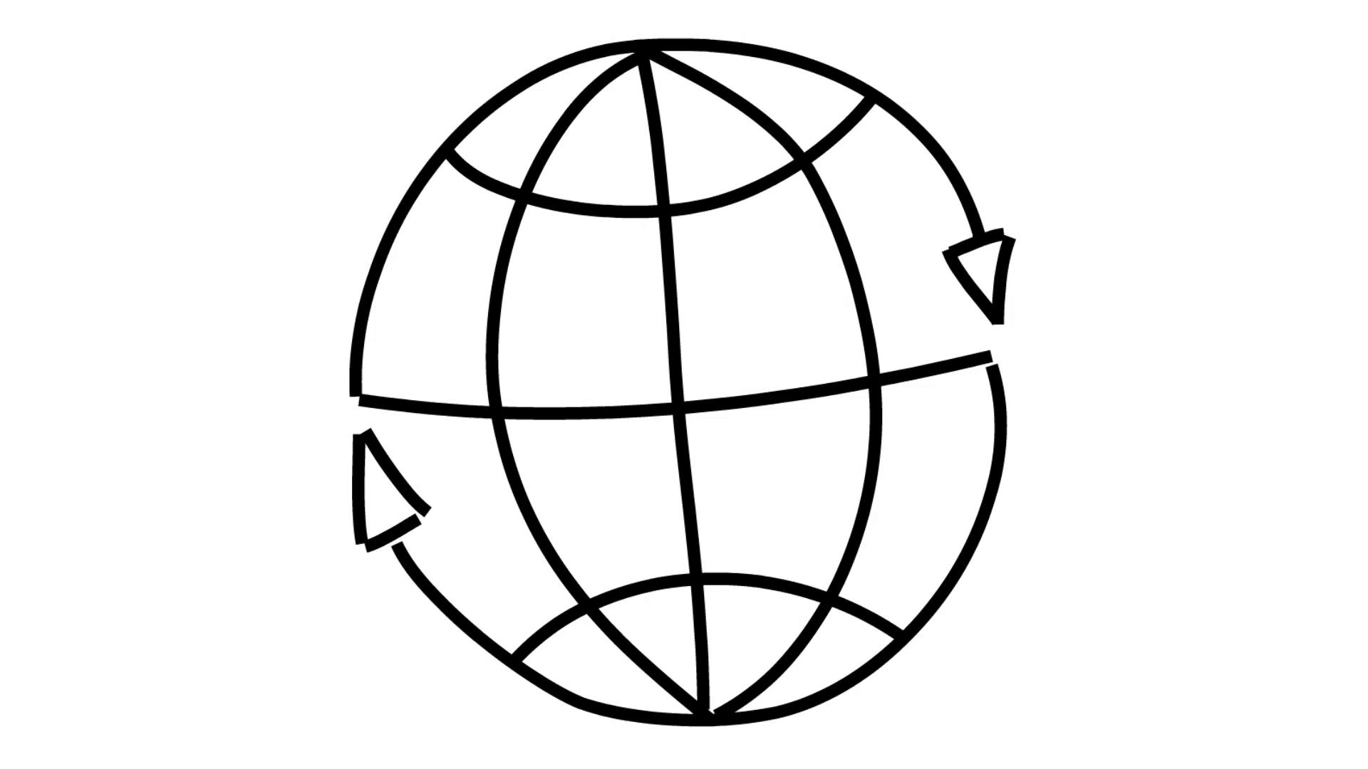 1920x1080 Atlas World Map Globe Internet Line Drawing Illustration Animation