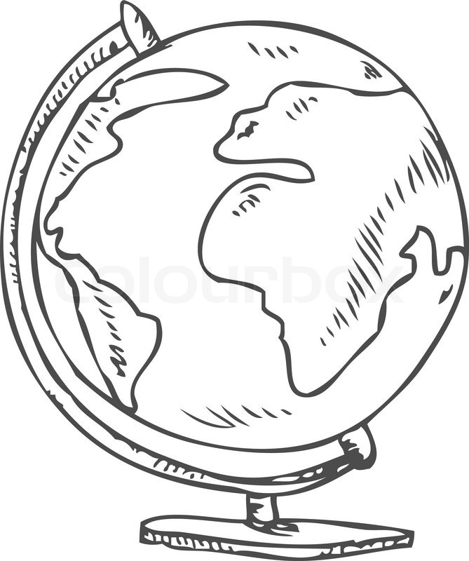 669x800 Vector Doodle Of A World Globe Stand Stock Vector Colourbox