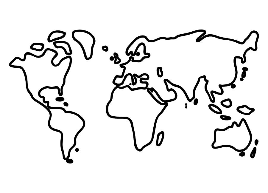 900x647 World Globe Drawing By Lineamentum