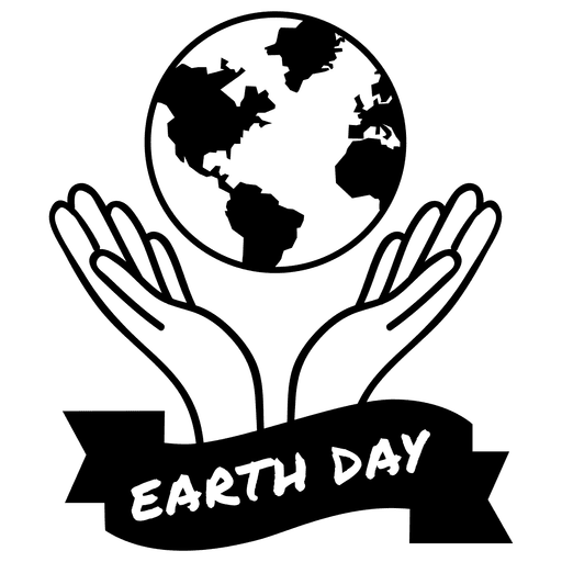 512x512 Globe Hands Earth Day Label