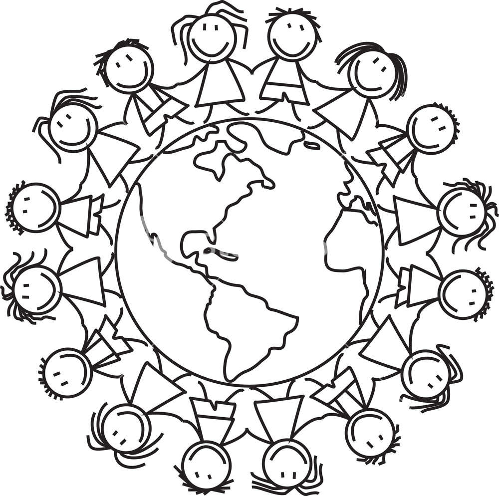 1000x994 Group Of Children Holding Hands On World Illustration Royalty Free