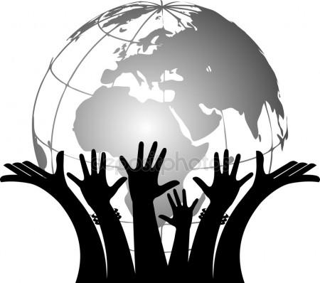 450x398 Hands Holding Globe Stock Vectors, Royalty Free Hands Holding