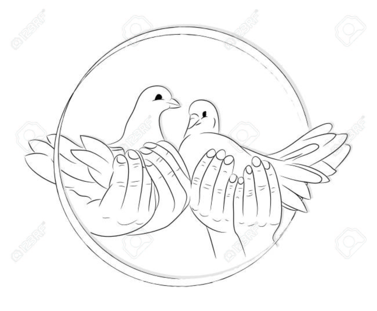1300x1075 Sketch Of Hands Let Go Birds Of The World. Royalty Free Cliparts