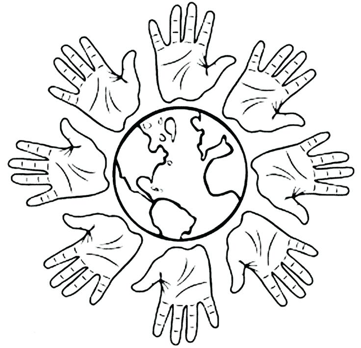 736x709 Around The World Coloring Pages Images Of Hands And World Coloring