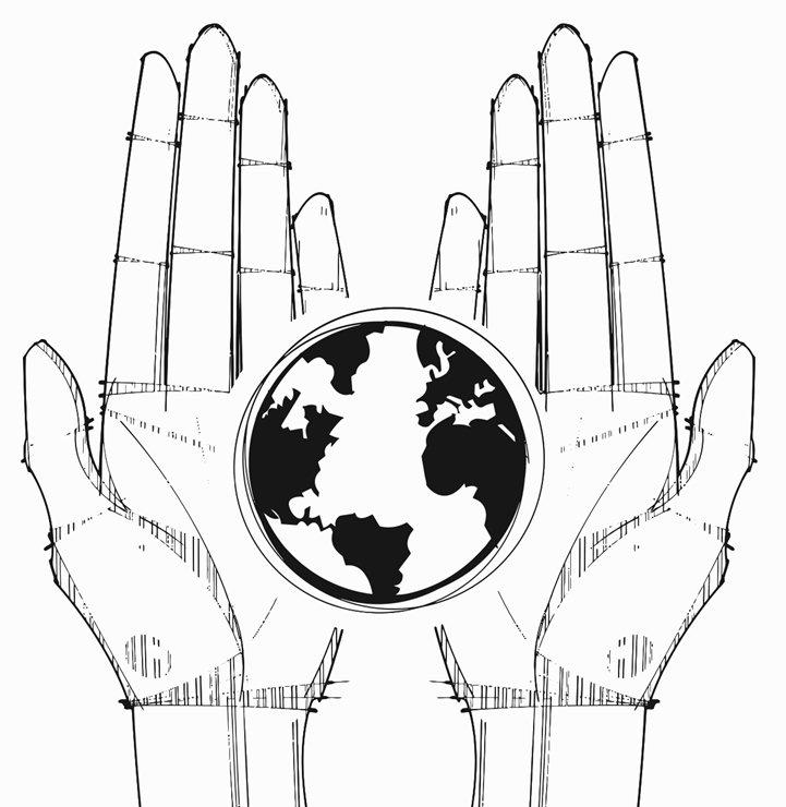 721x740 World Hands Printable Image Illustration Sketch For World