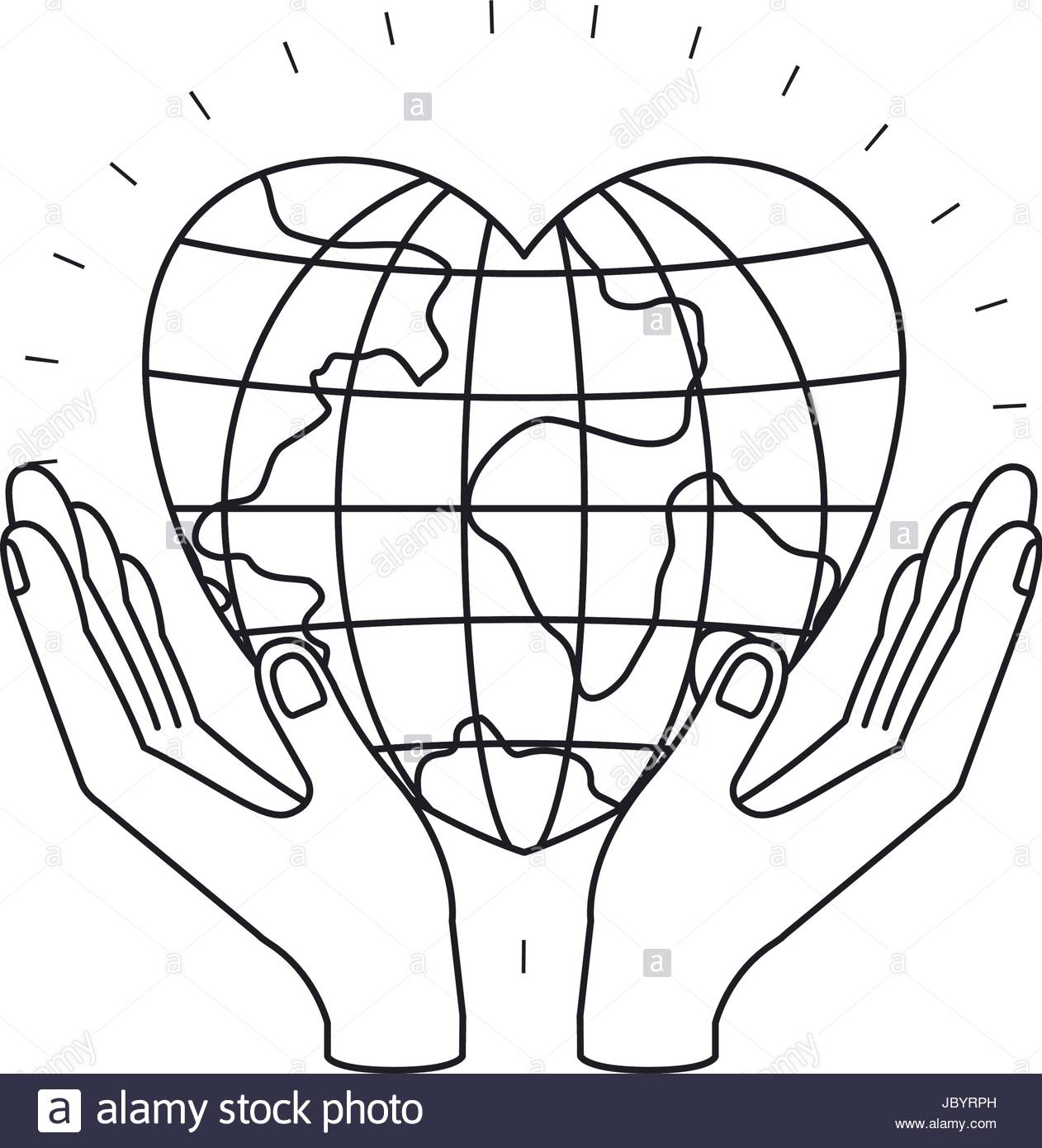 1262x1390 Silhouette Hands With Floating Earth Globe World In Heart Shape