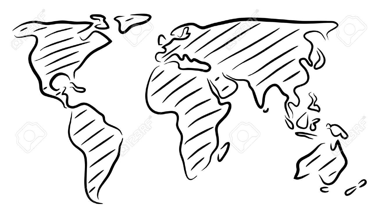 1300x758 Editable Vector Rough Outline Sketch Of A World Map Royalty Free
