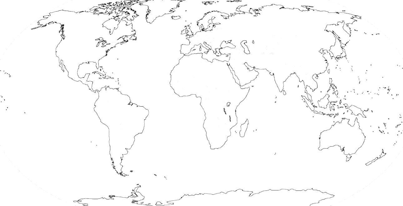 World map drawing at getdrawings free for personal use world 1290x659 world physical map black and white gumiabroncs Gallery