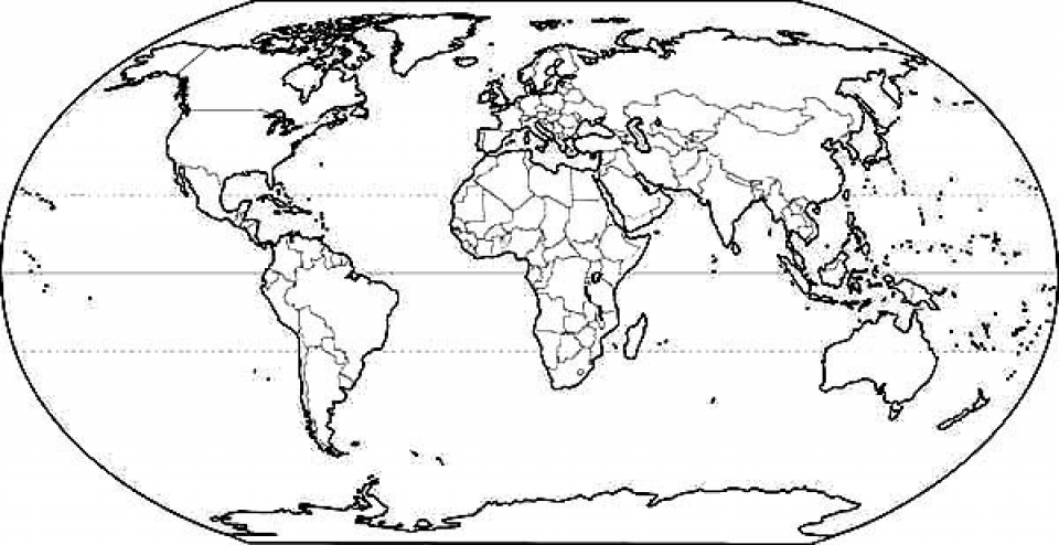 960x494 World Map Coloring Page For Kids