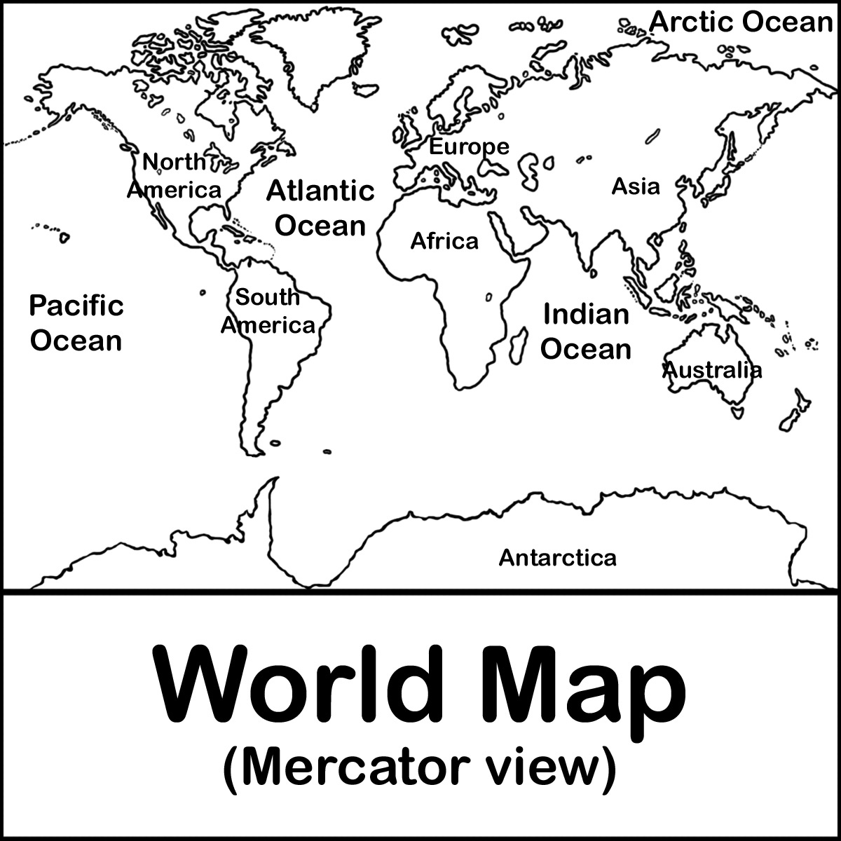 World map drawing for kids at getdrawings free for personal 1200x1200 map mercator bw labelg gumiabroncs Images