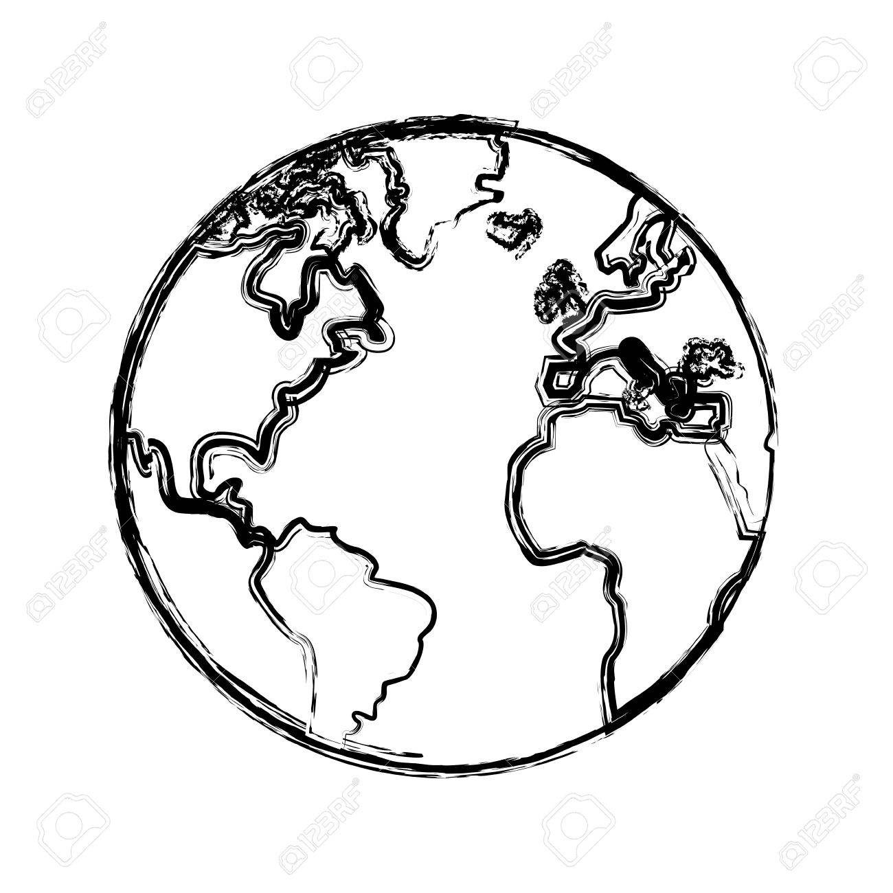 1300x1300 Sketch Globe World Earth Map Icon Vector Illustration Royalty Free
