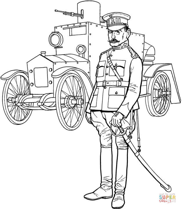 628x720 Ww1 General Officer And Tank Coloring Page Free Printable
